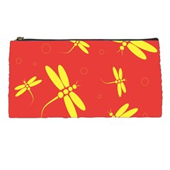 Red and yellow dragonflies pattern Pencil Cases