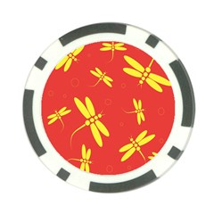 Red and yellow dragonflies pattern Poker Chip Card Guards (10 pack)
