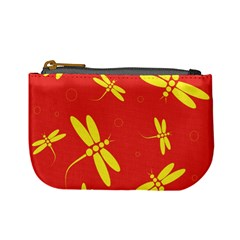 Red and yellow dragonflies pattern Mini Coin Purses