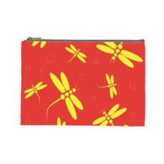 Red and yellow dragonflies pattern Cosmetic Bag (Large)