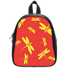Red and yellow dragonflies pattern School Bags (Small)