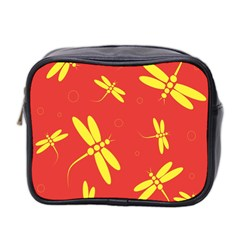 Red and yellow dragonflies pattern Mini Toiletries Bag 2-Side
