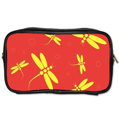 Red and yellow dragonflies pattern Toiletries Bags