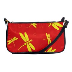 Red and yellow dragonflies pattern Shoulder Clutch Bags