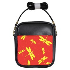 Red and yellow dragonflies pattern Girls Sling Bags