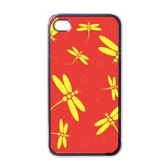 Red and yellow dragonflies pattern Apple iPhone 4 Case (Black)