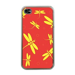 Red and yellow dragonflies pattern Apple iPhone 4 Case (Clear)