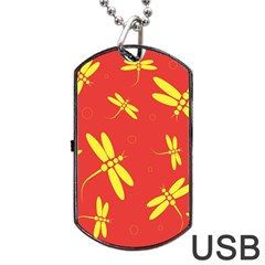 Red and yellow dragonflies pattern Dog Tag USB Flash (Two Sides)