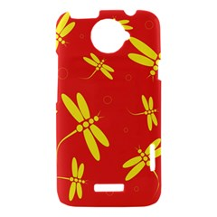 Red and yellow dragonflies pattern HTC One X Hardshell Case
