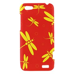 Red and yellow dragonflies pattern HTC One V Hardshell Case