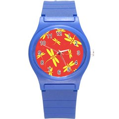 Red and yellow dragonflies pattern Round Plastic Sport Watch (S)
