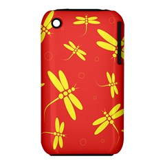 Red and yellow dragonflies pattern Apple iPhone 3G/3GS Hardshell Case (PC+Silicone)
