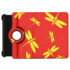 Red and yellow dragonflies pattern Kindle Fire HD Flip 360 Case