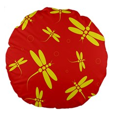 Red and yellow dragonflies pattern Large 18  Premium Round Cushions