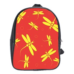 Red and yellow dragonflies pattern School Bags (XL)