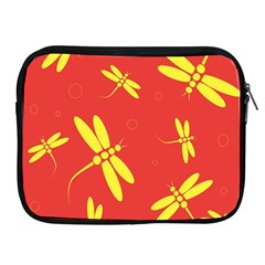 Red and yellow dragonflies pattern Apple iPad 2/3/4 Zipper Cases