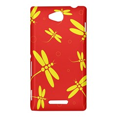 Red and yellow dragonflies pattern Sony Xperia C (S39H)