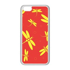 Red and yellow dragonflies pattern Apple iPhone 5C Seamless Case (White)