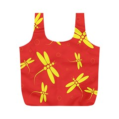 Red and yellow dragonflies pattern Full Print Recycle Bags (M)
