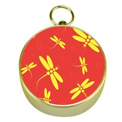 Red and yellow dragonflies pattern Gold Compasses