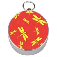 Red and yellow dragonflies pattern Silver Compasses
