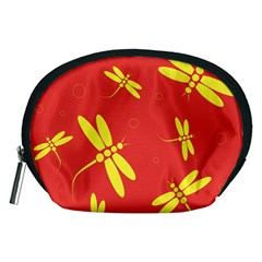 Red and yellow dragonflies pattern Accessory Pouches (Medium)