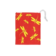 Red and yellow dragonflies pattern Drawstring Pouches (Small)