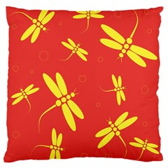 Red and yellow dragonflies pattern Large Flano Cushion Case (Two Sides)