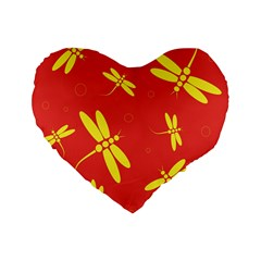 Red and yellow dragonflies pattern Standard 16  Premium Flano Heart Shape Cushions