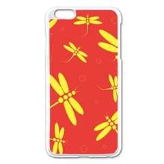 Red and yellow dragonflies pattern Apple iPhone 6 Plus/6S Plus Enamel White Case