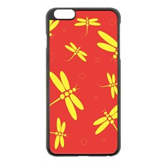 Red and yellow dragonflies pattern Apple iPhone 6 Plus/6S Plus Black Enamel Case