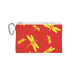 Red and yellow dragonflies pattern Canvas Cosmetic Bag (S)