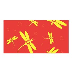 Red and yellow dragonflies pattern Satin Shawl