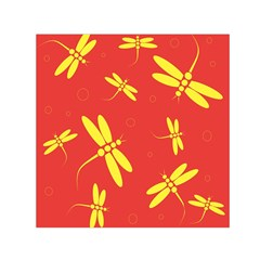Red and yellow dragonflies pattern Small Satin Scarf (Square)