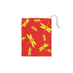 Red and yellow dragonflies pattern Drawstring Pouches (XS)