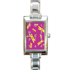 Purple and yellow dragonflies pattern Rectangle Italian Charm Watch
