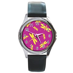 Purple and yellow dragonflies pattern Round Metal Watch