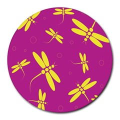 Purple and yellow dragonflies pattern Round Mousepads