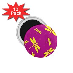 Purple and yellow dragonflies pattern 1.75  Magnets (10 pack)