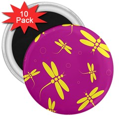 Purple and yellow dragonflies pattern 3  Magnets (10 pack)