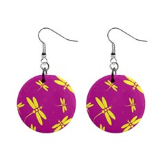 Purple and yellow dragonflies pattern Mini Button Earrings