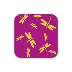 Purple and yellow dragonflies pattern Rubber Square Coaster (4 pack)