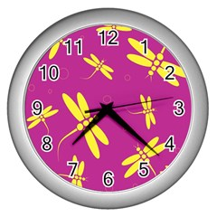 Purple and yellow dragonflies pattern Wall Clocks (Silver)