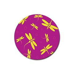Purple and yellow dragonflies pattern Rubber Coaster (Round)