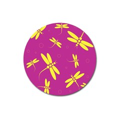 Purple and yellow dragonflies pattern Magnet 3  (Round)