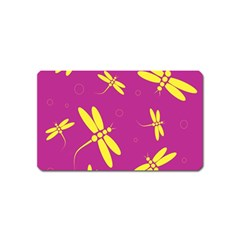 Purple and yellow dragonflies pattern Magnet (Name Card)