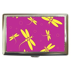 Purple and yellow dragonflies pattern Cigarette Money Cases