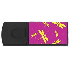 Purple and yellow dragonflies pattern USB Flash Drive Rectangular (1 GB)