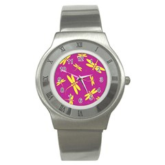 Purple and yellow dragonflies pattern Stainless Steel Watch