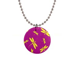 Purple and yellow dragonflies pattern Button Necklaces